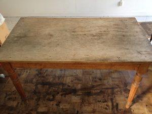 アンティークテーブル天板塗装直し、再塗装
