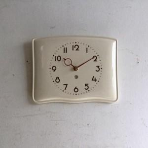 アンティーク 陶器の壁掛け時計/ウォールクロック/フランス D13