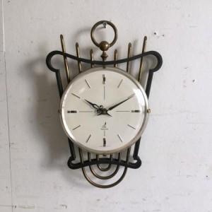 ヴィンテージ JAZの壁掛け時計/ウォールクロック/ハープ/フランス D8