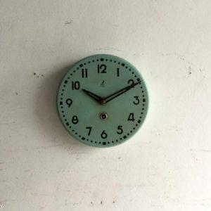 アンティーク JAZの壁掛け時計/クロック/duck-egg blue/フランス E7