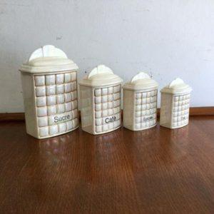 ヴィンテージ 陶器キャニスター4個セット/ditmar urbach/オパールラスター/チェコ E16