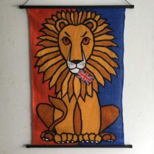 ヴィンテージ ティータオルのタペストリー/Ulster-linen/Lion/アイルランド E10