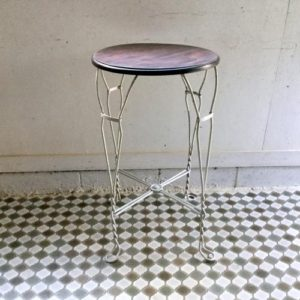 アンティーク アイアンのカフェテーブル/ビストロ/ホワイトペイント/フランス H2