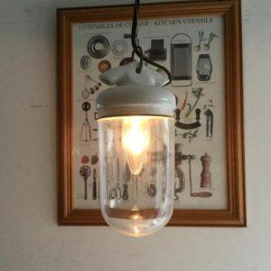 アンティーク ポーセリン&ガラスのペンダントランプ/インダストリアル/フランス H9