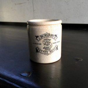 アンティーク J.SAINSBURY'S (セインズベリー)の陶器ミートポット/イギリス M15