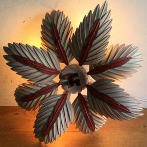 ヴィンテージ 4灯シャンデリア/palm leaves/ランプ/フランス A2