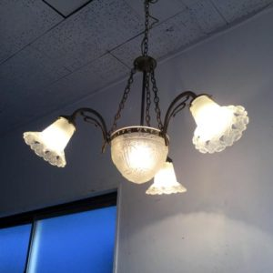 アンティーク アールデコのシャンデリア/4灯/照明/イギリス B1