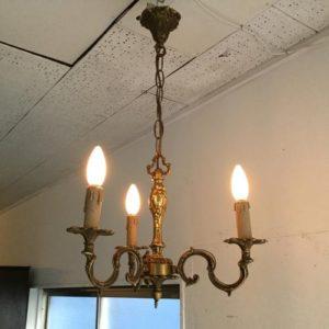 アンティーク 3灯シャンデリア/ブラス(真鍮)/照明/イギリス B2
